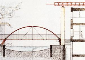 Restauro di palazzi storici a Sacile: disegno del nuovo ponte